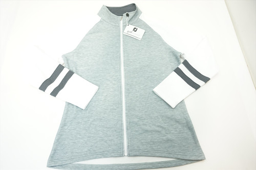 New FootJoy Women's Midlayer Jacket Size Medium Heather Grey/White/Black 391A 821215