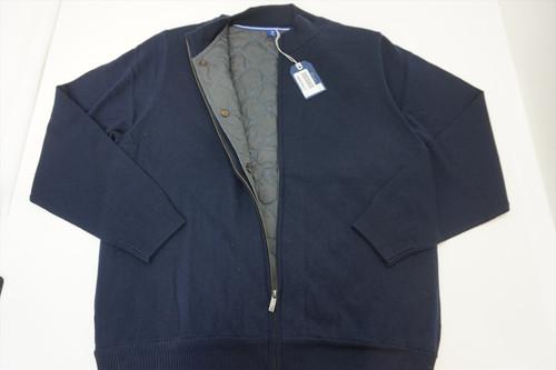 New FootJoy 1857 Mercerized Merino Full-Zip Sweater Mens XL Navy Spring 407A