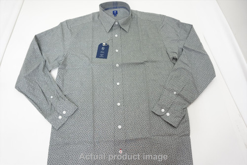 FootJoy 1857 Cotton Squard Print Button Down Mens Large grey/Navy 447A 845461