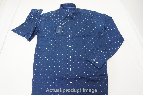 FootJoy 1857 Stretch Cotton Button Down Mens Size Large Navy w/White 447A