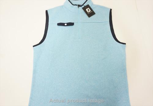 New FootJoy Golf Sweater Fleece Vest Mens Size Large Light Blue/Navy 475A 857452