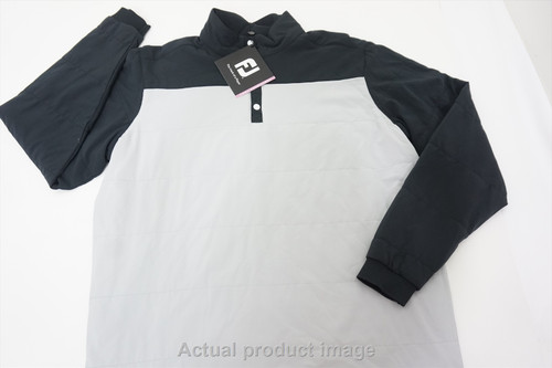 New FootJoy Golf Thermal Mid-Layer Pullover Mens Large Black/Silver 478B 858325