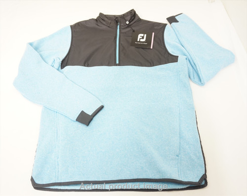New FootJoy Sweater Fleece Pullover Mens Large Blue/Charcoal 481B 858560