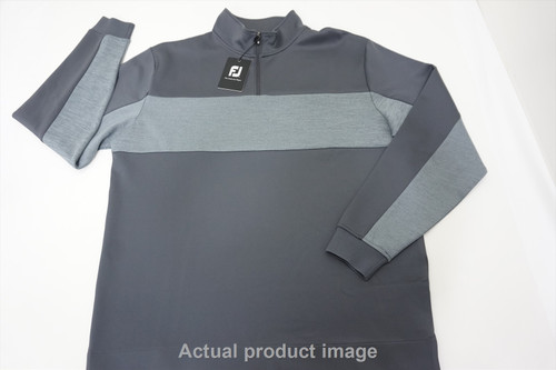 New FootJoy Double Jersey Pieced Pullover Mens Large Charcoal/Grey 481B 858557