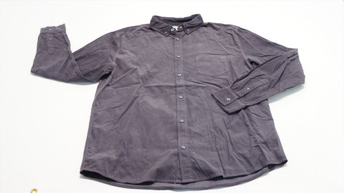 Double Knit Dry long Sleeve Button Down Mens Large Grey 493B 861651