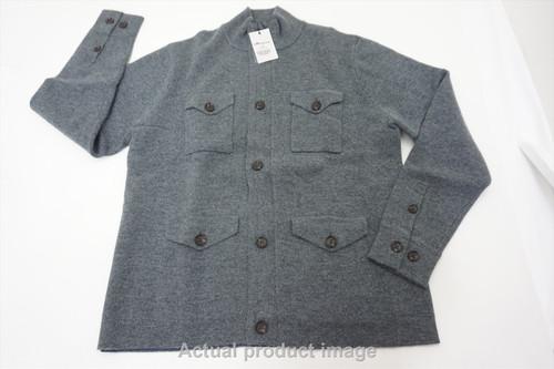 New Peter Millar Golf Wool Sweater Jacket Mens Size Medium Gale Grey 494A 862672
