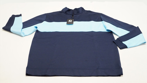 FootJoy Double Jersey Pieced Pullover Large Navy/Light Blue Heather 495F 863394