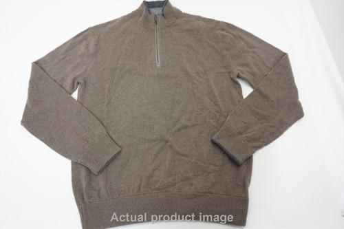 New Greyson Sebonack Wool/Cashmere Mens Small Brown 1/4 Zip Sweater 497B 8639