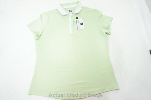 New FootJoy Golf Birdseye Polo Womens Size Medium Sprout/White 500A 00864674