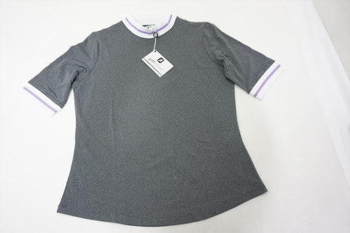 New FootJoy Baby Pique Polo Womens Medium Charcoal White/Orchid 511B 00869893