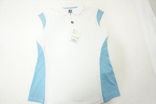 New FootJoy Stretch Pique Polo Womens Size Medium White/Surf 511B 00869894