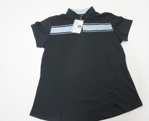 New FootJoy Baby Pique Zip w/Stripe Polo Womens Medium Black/White 511B