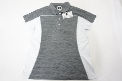New FootJoy Lisle Space Dye Color Block Polo Womens Medium Black/White 511B