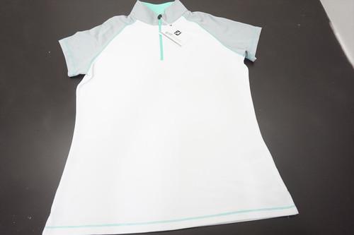 New FootJoy Golf Smooth Pique Polo Womens Medium White/Grey 520A 00873263