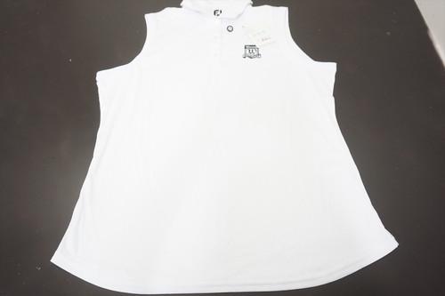 FootJoy Interlock Sleeveless Shirt Self Collar Polo Womens XL White 520A
