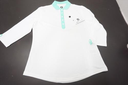 New FootJoy Baby Pique Polo Womens Size Medium White/Jade Stone 520A 00873270