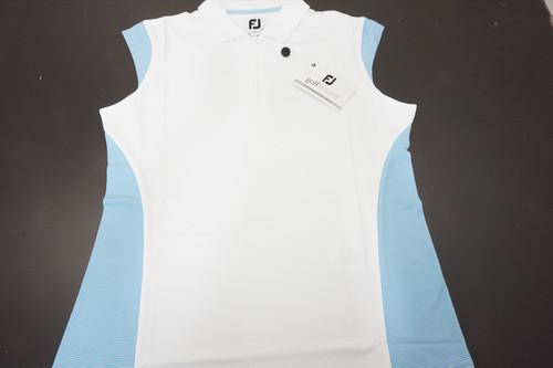 New FootJoy Baby Pique Mock Polo Womens Medium White/Surf 520B 00873821