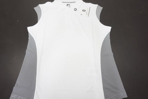 New FootJoy Sleeve Interlock Microstripe Polo Womens Medium White/Black 520B