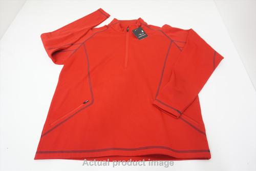 New Page & Tuttle Golf 1/4 Zip Sweater Pullover Mens Large Red 534B 00878814