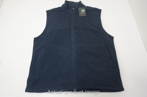 New Page & Tuttle Golf Full Zip Vest Mens Size Large Navy 536A 00879659