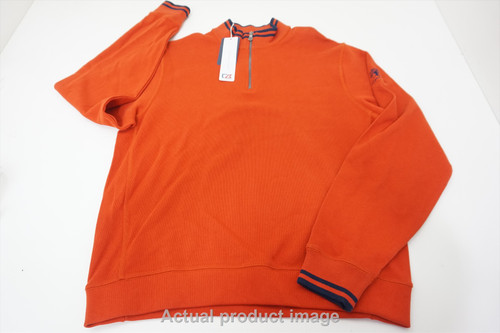 New Cutter & Buck Golf With Logo Pullover Mens Size Large Orange 534B 00878816