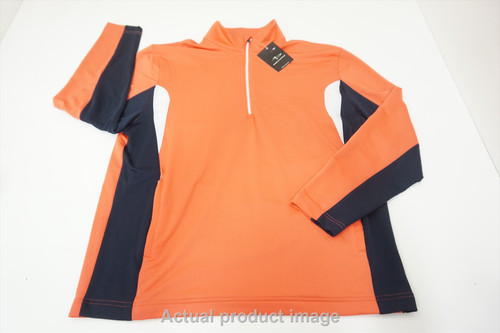 Page & Tuttle 1/4 Zip Sweater Pullover Mens Large Orange/Navy/White 534B 878815