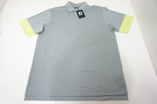New FootJoy Pique Block Sleeve Knit Collar Polo Large Grey/Lime 539A 880578