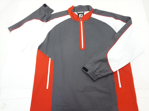 New Footjoy Golf Sport Windshirt Pullover Large Charcoal/Red/White 368C 810144