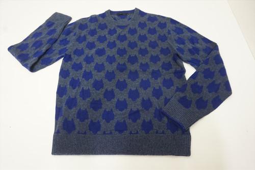 Greyson Printed Wool/Cashmere Sweater Mens Medium Grey/Blue Crewneck 553B 891852