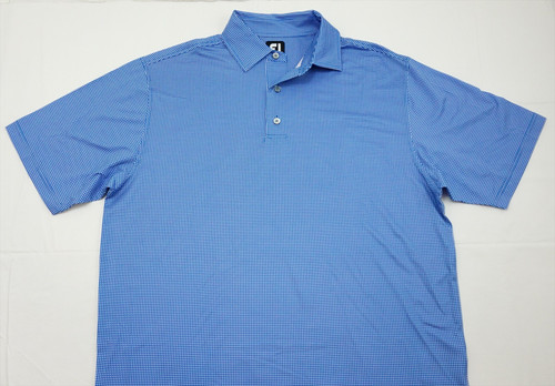 New Footjoy Heather Lisle Houndstooth Polo Large Blue Self Collar 325C 787561