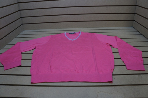 New Fairway & Greene Golf V Neck Solid Pullover Mens Size Large Pink/Blue 96C