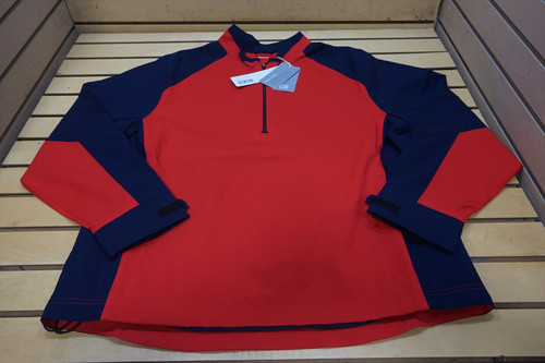 New CB Golf Weathertec 1/4 Zip Pullover Mens Size Large Red/Navy  66D