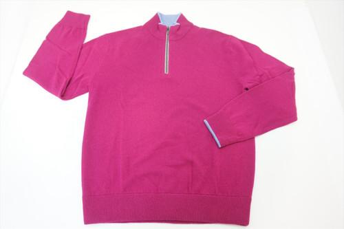 New Greyson Sebonack Wool/Cashmere Medium Pink 1/4 Zip Sweater 382A 817769