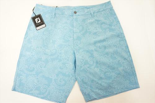 New  FootJoy Golf Batik Print Shorts  Mens Size 34  Light Blue Regular 467B