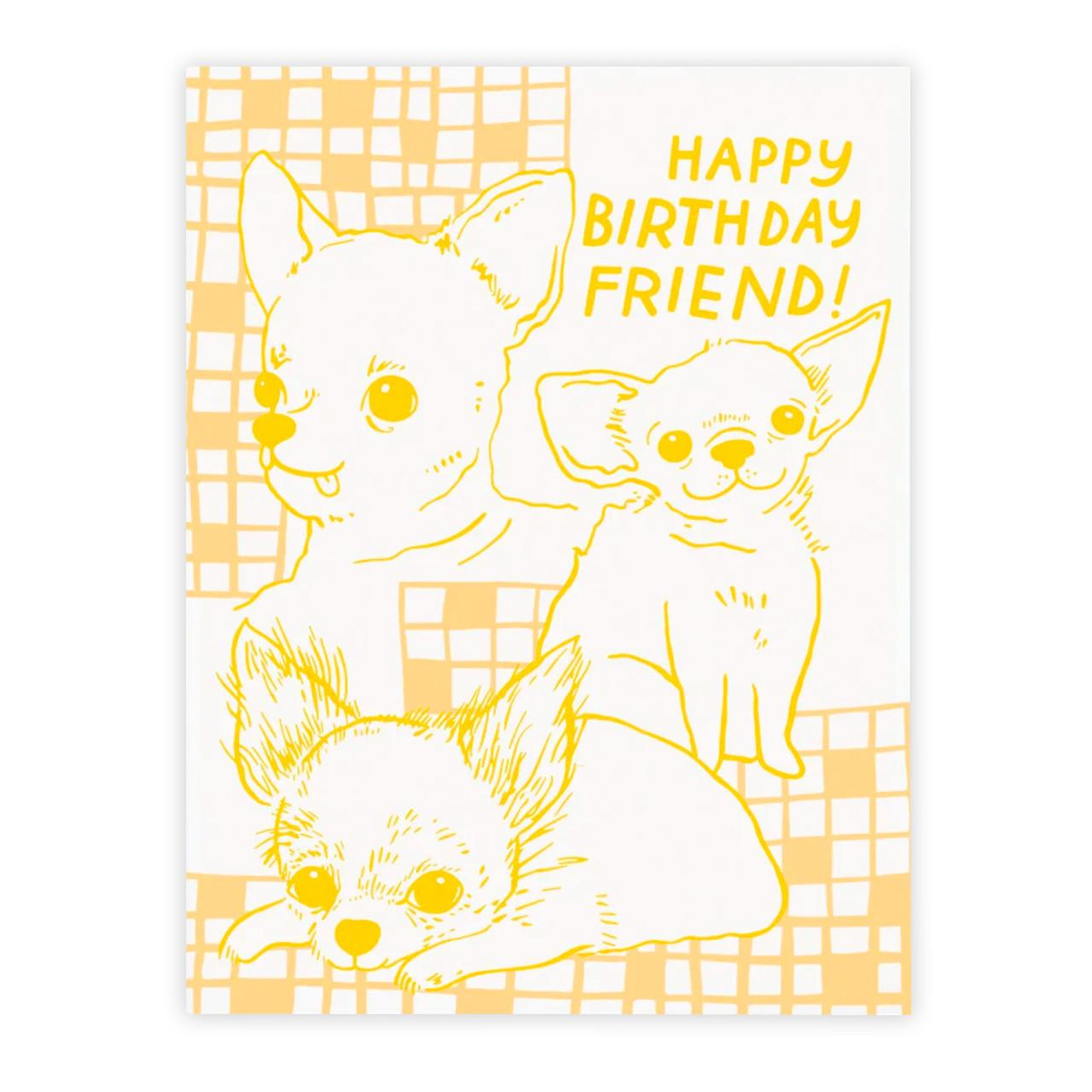 Pet Birthday Handmade Black Dog Chi-chi Birthday Greeting Card Chihuahua Birthday Card Party Hat