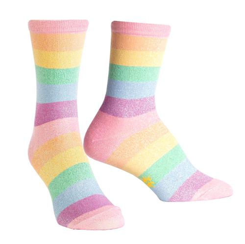 Pastel Prismatic Sock it To Me Women/'s Crew Socks New Novelty Shimmering Fashion