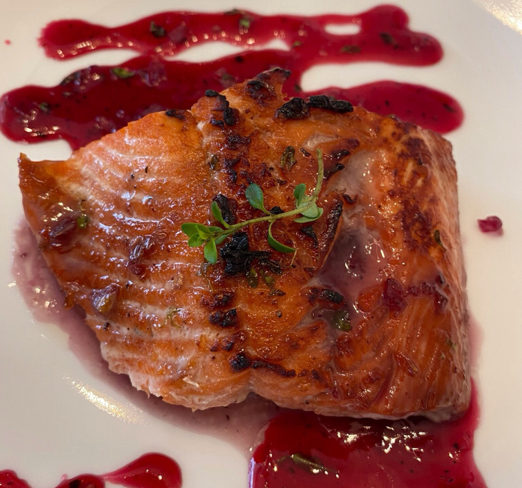 Huckleberry Thyme Glazed Trout or Salmon Recipe