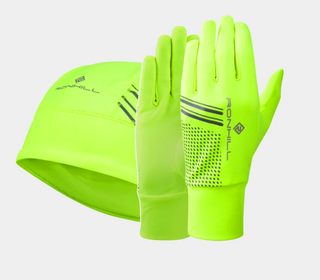 A Ron Hill Beanie & Glove Set Yellow