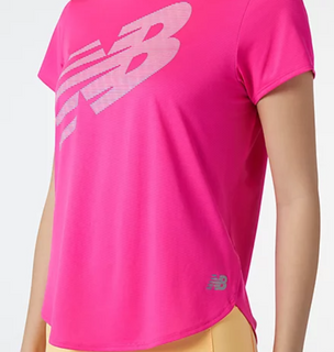 W New Balance Printed Accelerate SS Tee Pink