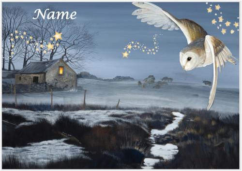 Moonlight Owl Christmas - Personalised