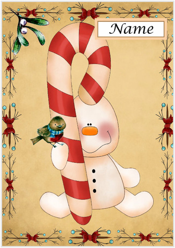 Candy Cane Snowman - Personalised