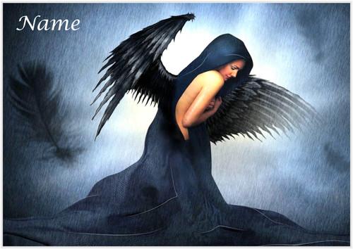 Dark Feather Angel - Personalised