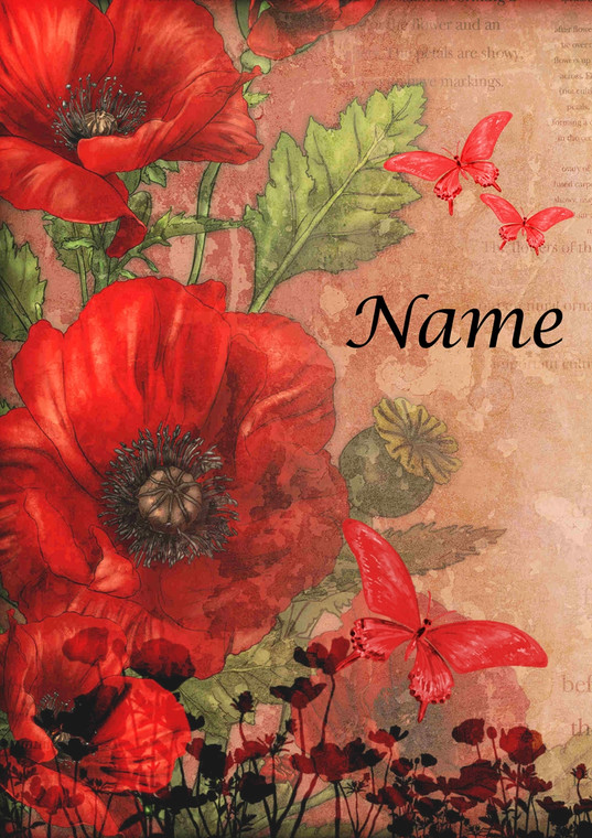 Red Poppy Portrait - Personalised