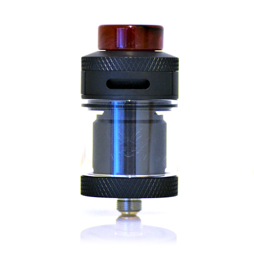 Dead Rabbit RTA in black with a red drip tip