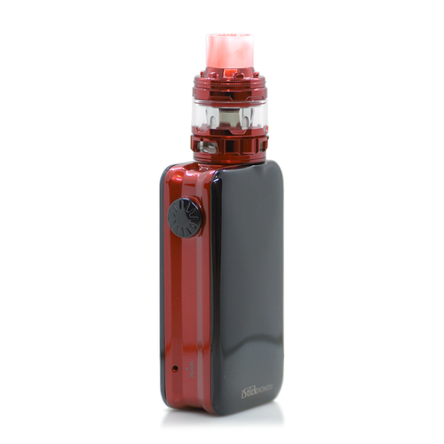 iStick Nowos kit, in red, showing button