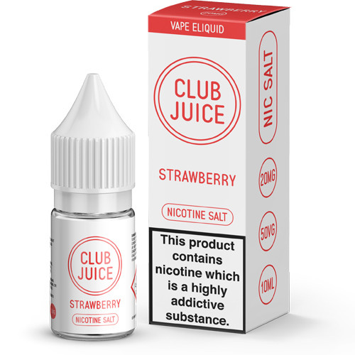 Club Juice Strawberry Nic Salt E-Liquid view of bottle and packaging