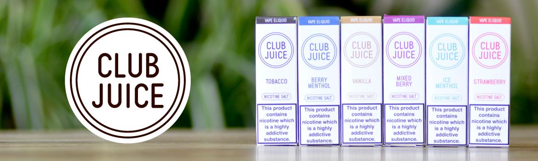 Club Juice 10ml e-liquid bottles on table
