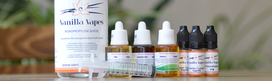 PG Bottle, Hangsen concentrates and Capella concentrates on a table
