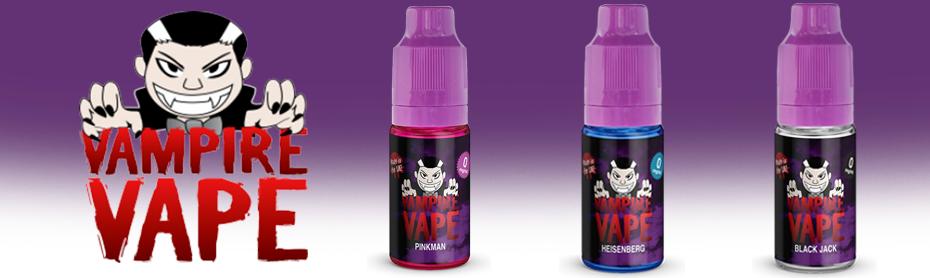 Vampire Vape E-Liquid Banner with Heienberg, Pinkman and Black Jack 10ml bottles