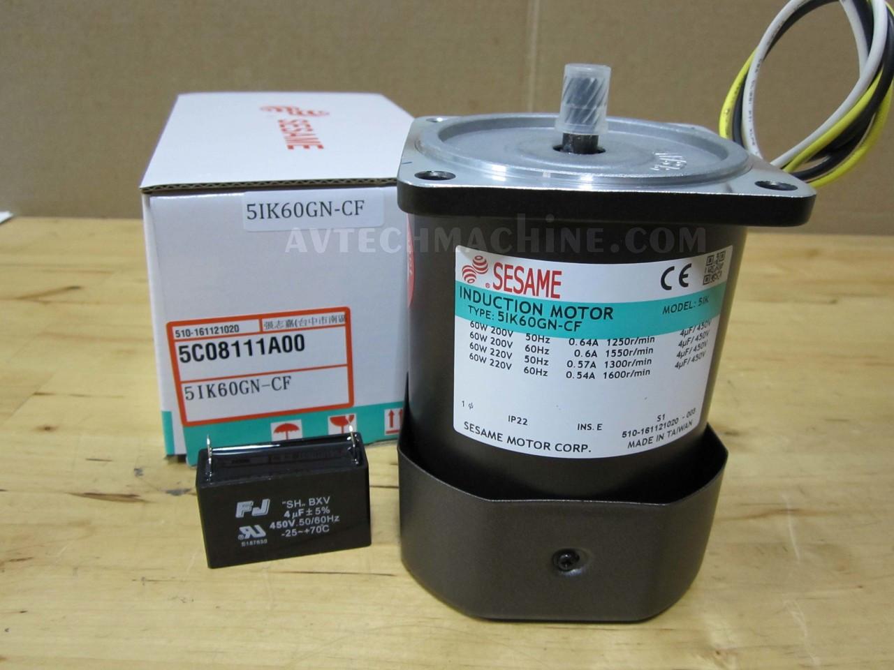 Sesame 5RK60GN-CFPTS Reversible Motor 60W//1PH//220V//4P//Fan//Switch//Terminal Box